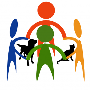 Abstract clipart of people and pets